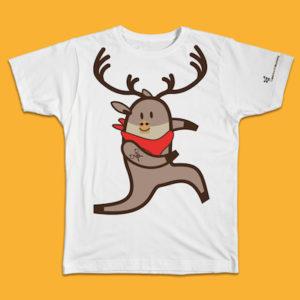 caribou, renna, abbigliamento bambino, t-shirt kid, puro cotone, cotton, white, bianco, maglietta manica corta