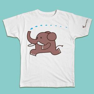 elephant, elefante, abbigliamento bambino, t-shirt kid, puro cotone, cotton, white, bianco, maglietta manica corta