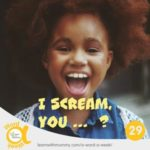 una-bambina-con-una-acconciatura-afro-grida-felice-sopra-la-scritta-gridare-in-inglese