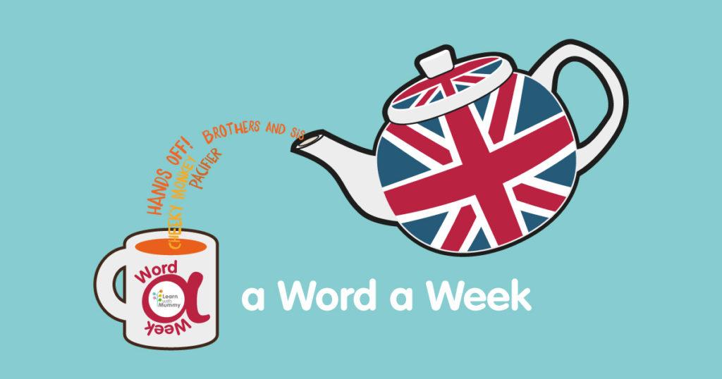 una-teiera-con-bandiera-inglese-union-jack-versa-il-te-composto-d PArole-inglesi-in-una-tazza-con-il-logo-della -rubrica-a-word-a-week-di-learn-with-mummy