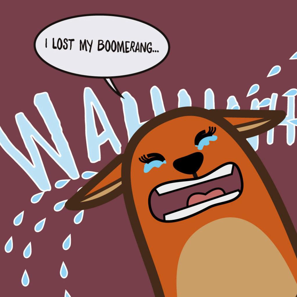 kangaroo-uno -dei-personaggi-della-serie-di-libri-in-inglese-per-bambini-learn-with-mummy-down-under-fa-i-capricci-in-inglese-perchè-ha -perso-il-suo-boomerang