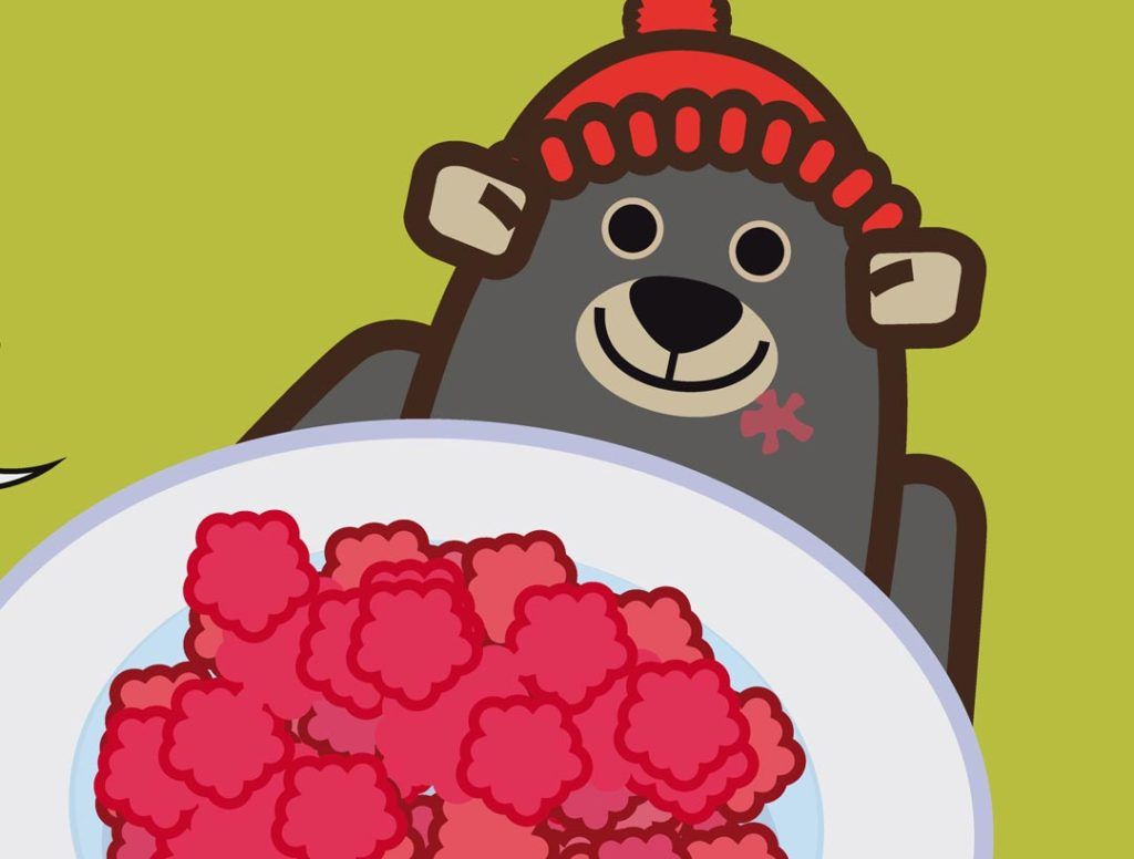 l-orsetto-bear-personaggio-della-serie-di-libri-in-inglese-per-bambini-in-the-rockies-dilearn-with-mummy-mostra-orgoglioso-un-piatto-pieno-di-frutti-di-bosco