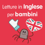 un ragnetto disegnato con una bandiera inglese a forma di cuore e il simbolo like di facebook accanto alla scritta letture in inglese per bambini