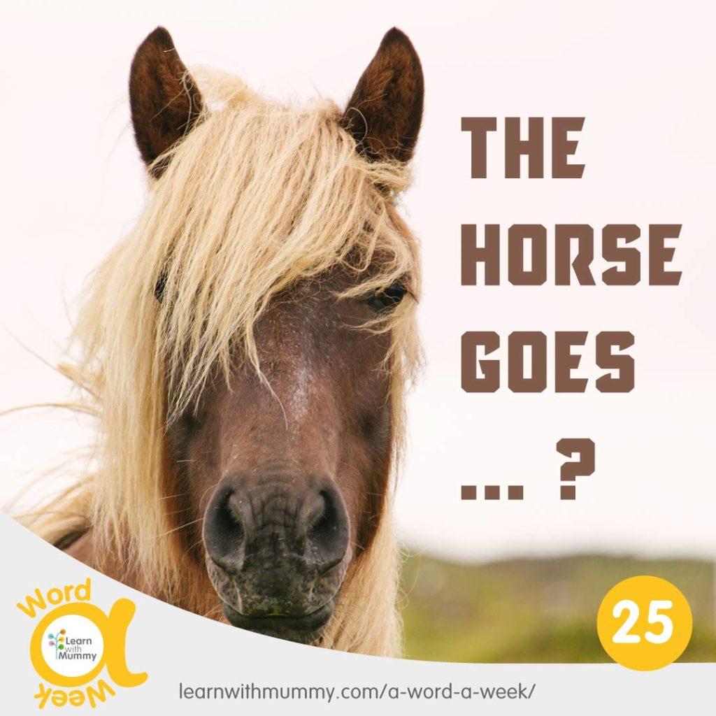 primo-piano-di-un-cavallo marrone-con-la-lunga-criniera-bionda-e-la-scritta-interrogativa-su-come-si-dice-nitrire-in-inglese