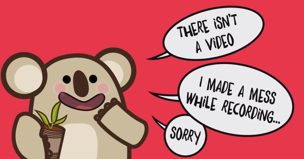 disegno diun koala imbarazzatoche dice che per un erore tecnoco non c'è il video delle letture in inglese per bambini