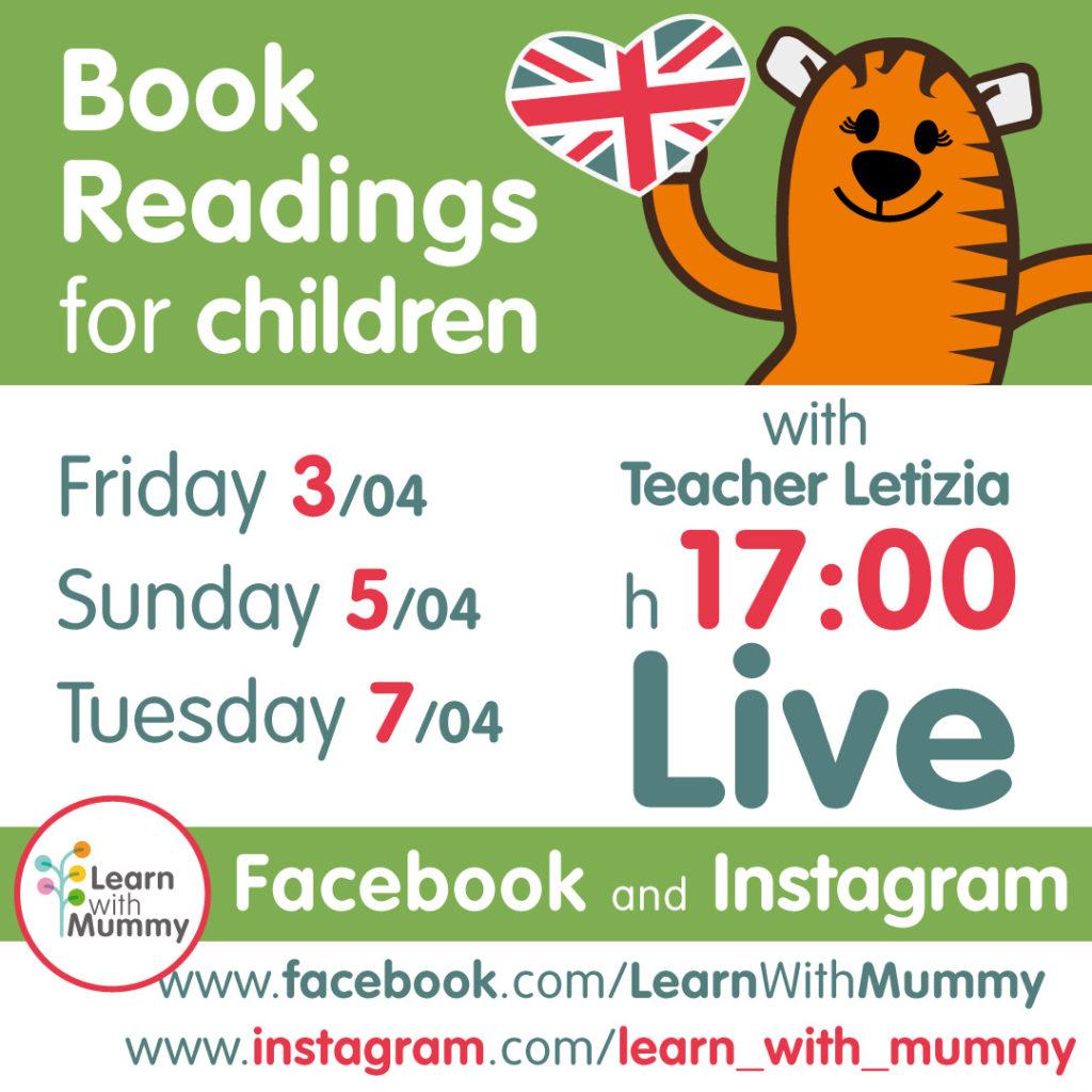 locandina con le date e gli orari delle letture live in inglese per bambini tenute da teacher letizia di learn with mummy dal 3 al 7 aprile 2020
