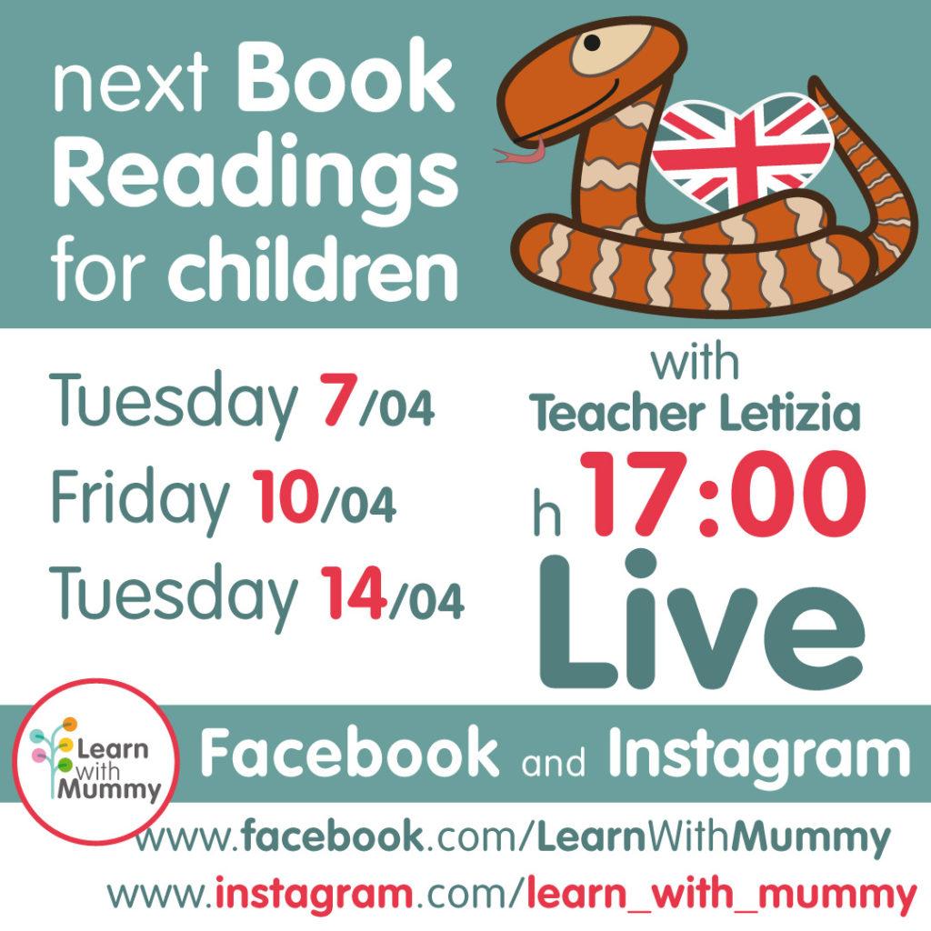 locandina con le date e gli orari delle letture live in inglese per bambini tenute da teacher letizia di learn with mummy dal 10 al 14 aprile 2020