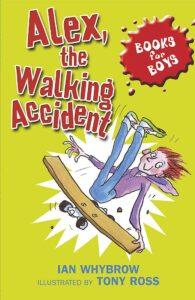 copertina di Alex the Walking Accident libro in inglese per bambini con protagonista un bambino seduto in equilibrio su uno skateboard artigianale