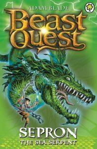 copertina di Beast Quest libro in inglese per ragazzi con protagonista un ragazzo che cavalca un drago verde