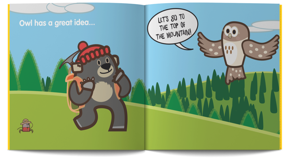 pagine dal libro illustrato in Inglese per bambini intitolato What a trip! dalla serie Learn with Mummy in the Rockies, scritto da Letizia Quaranta e illustrato da Ardoq