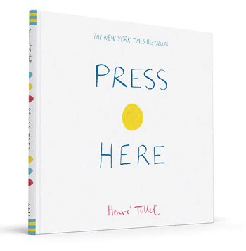 copertina di Press Here libro in inglese per bambini con protagonista un puntino giallo