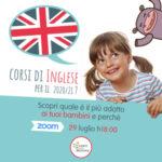 immagine promozionale die corsi di inglese per bambini di Learn with Mummy con una bambina sorridente e il baloon con una bandiera inglese