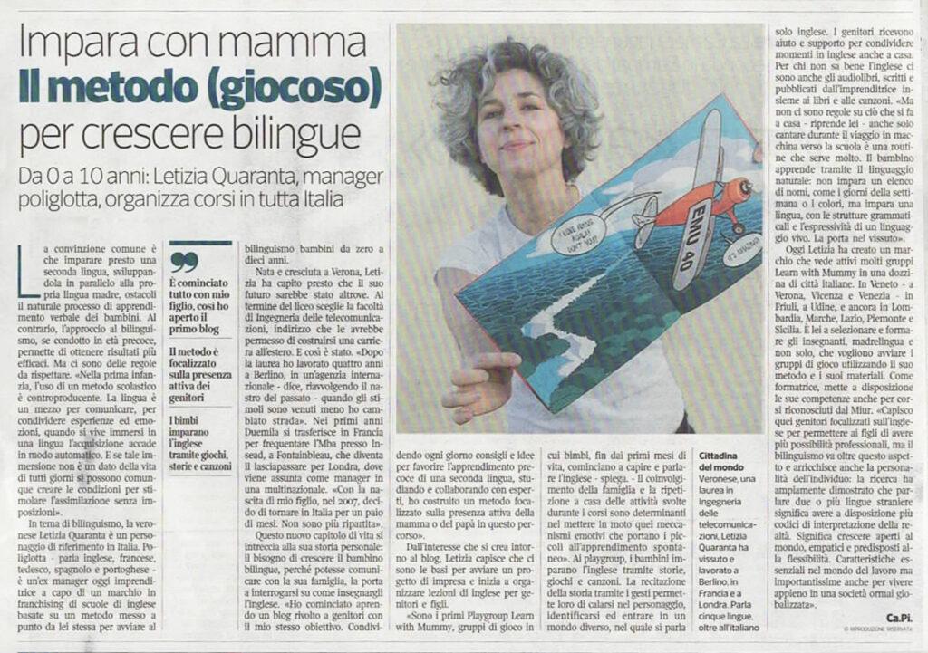 articolo sul corriere della sera veneto che parla di Letizia Quaranta e dei playgroup