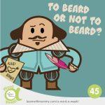 disegno con Shakespeare che si interroga sui baffi e la barba in inglese, disegnato da Ardoq nello stile dei personaggi Learn with Mummy