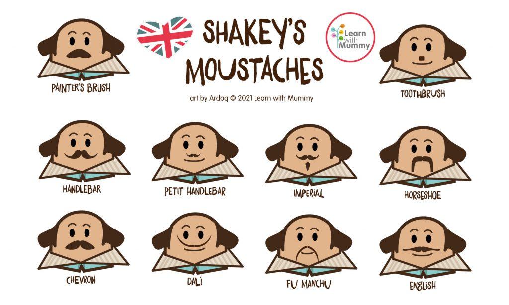 disegno con Shakespeare con i diversi tipi di baffi o moustaches in inglese, disegnato da Ardoq nello stile dei personaggi Learn with Mummy