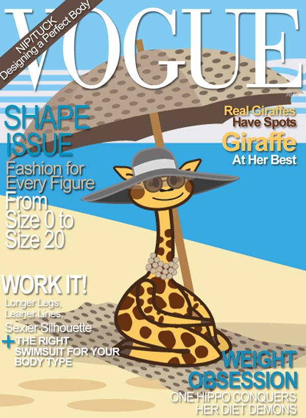 finta copertina di Vogue con il disegno di Giraffa, personaggio dei libri in Inglese per bambini illustrati da Ardoq per Learn with Mummy