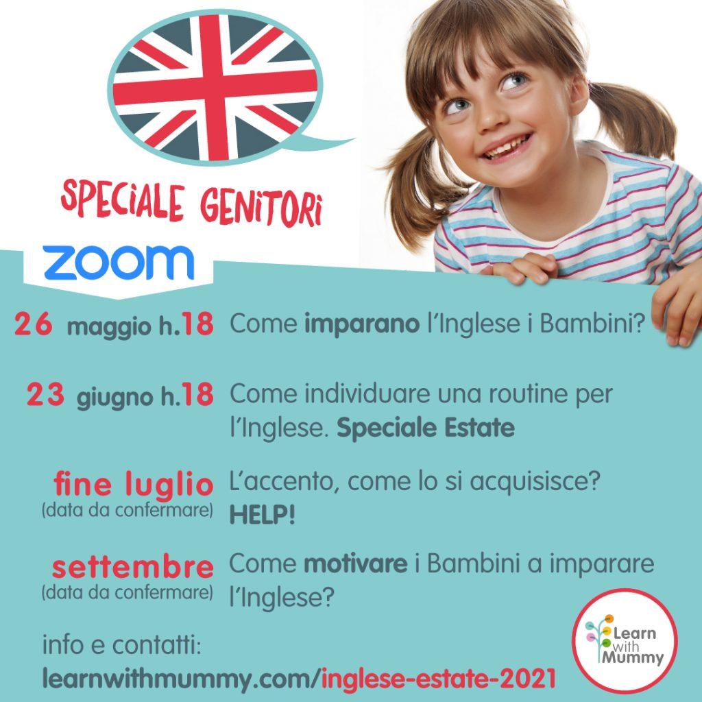 incontri per genitori su Inglese per bambini per estate 2021 maggio giugno luglio e settembre su zoom