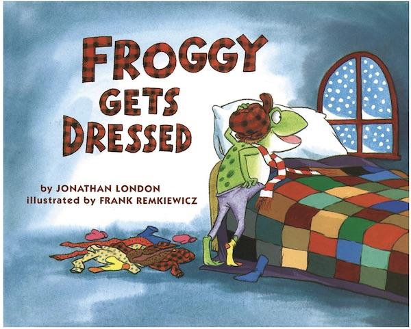 copertina del libro froggy gets drtessed sui vestiti in Inglese e come vestirsi in inglese